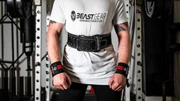 Beast Gear PowerBelt - Premium Powerlifting Gürtel mit Doppelter Dornschließe - 10,2cm x 10mm Nubukleder Kraftsport Gewichthebergürtel Nietengürtel   L - 6