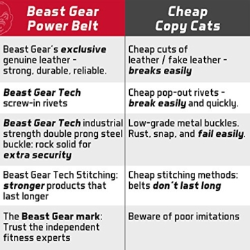 Beast Gear PowerBelt - Premium Powerlifting Gürtel mit Doppelter Dornschließe - 10,2cm x 10mm Nubukleder Kraftsport Gewichthebergürtel Nietengürtel   L - 8