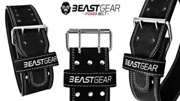 Beast Gear PowerBelt - Premium Powerlifting Gürtel mit Doppelter Dornschließe - 10,2cm x 10mm Nubukleder Kraftsport Gewichthebergürtel Nietengürtel   L - 9