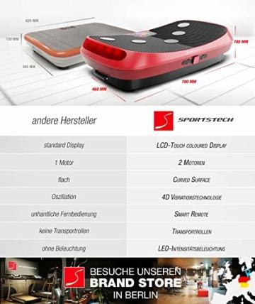 Messe-Neuheit 2019! 4D Vibrationsplatte VP400 mit einmaligen Curved Design, Color Touch Display, Riesige Fläche, Smart LED Technologie inkl. Remote-Watch, Trainingsbänder & Übungsposter & Schutzmatte - 2