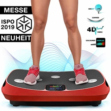 Messe-Neuheit 2019! 4D Vibrationsplatte VP400 mit einmaligen Curved Design, Color Touch Display, Riesige Fläche, Smart LED Technologie inkl. Remote-Watch, Trainingsbänder & Übungsposter & Schutzmatte - 1